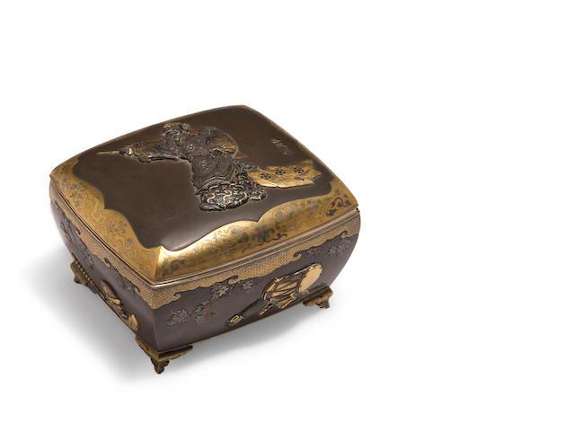 A mixed-metal kobako  By Unno Shomin (1844-1915)