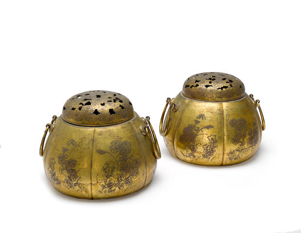 A pair of gilt bronze shuro (hand-warmers) 18th century