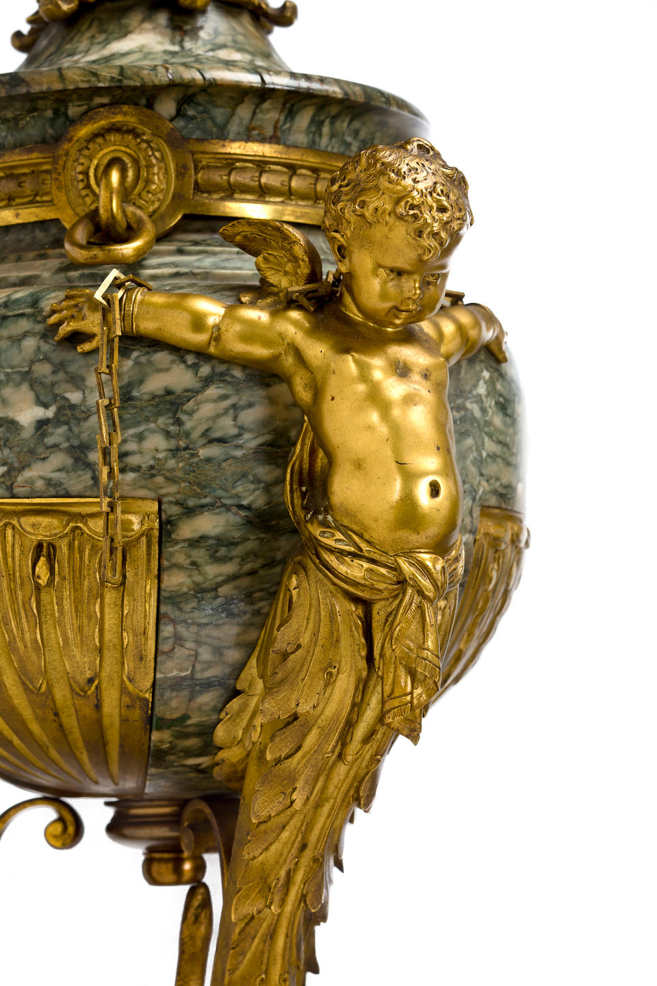 """An important and fine Louis XVI style gilt bronze mounted campan vert marble three piece garniture """"aux amours enchaînés"""" attributed to Henry Dasson third quarter 19th century"""