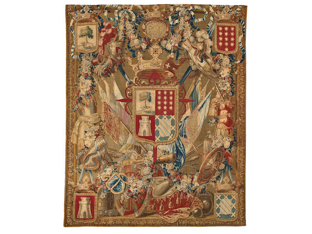 A Brussels armorial portière tapestry<br>probably by Albert Auwercx (active 1657-1717)<br>fourth quarter 17th century