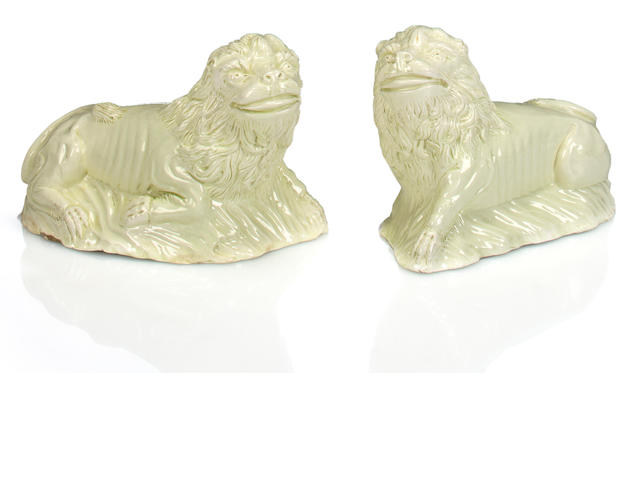 A pair of English creamware recumbent lion figure, circa 1770