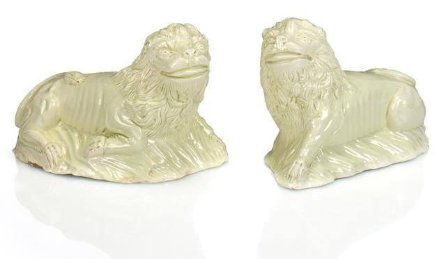 A pair of English creamware recumbent lion figure, circa 1770