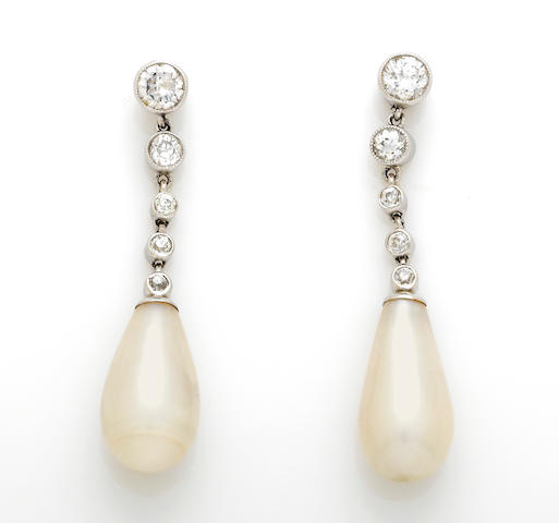 A pair of drop cultured pearl and diamond earrings