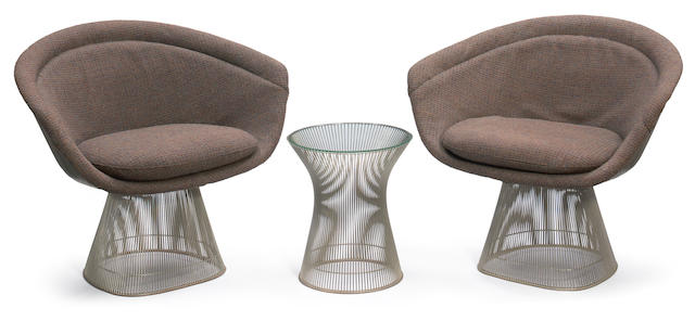 A pair of Warren Platner for Knoll chrome plated steel wire and upholstered lounge chairs designed circa 1966