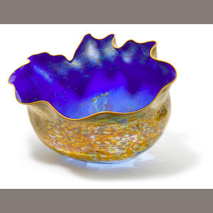 Dale Chihuly (American, born 1941) A blue bowl with yellow lip and exterior