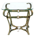 A pair of wrought iron and glass side tables
