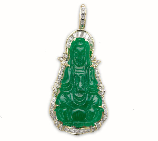 A jadeite jade and diamond Guanyin pendant-enhancer