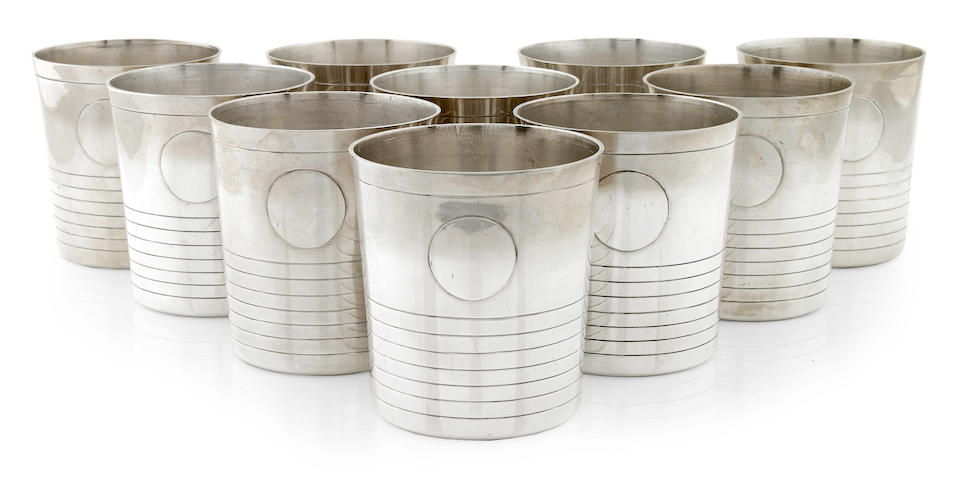 A set of ten William Spratling sterling silver tumblers designed 1964-1967, produced post 1979