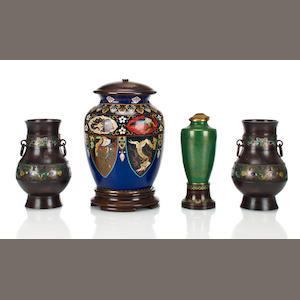 A Chinese cloisonne jar mounted as a table lamp and two similar vases and a lamp