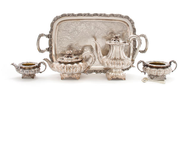 A late Regency silver tea and coffee service