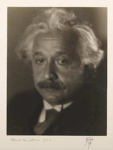 EINSTEIN, ALBERT. Signed photo given by Einstein to neighbors Robin & Elizabeth Marlon, 50 Mercer St.