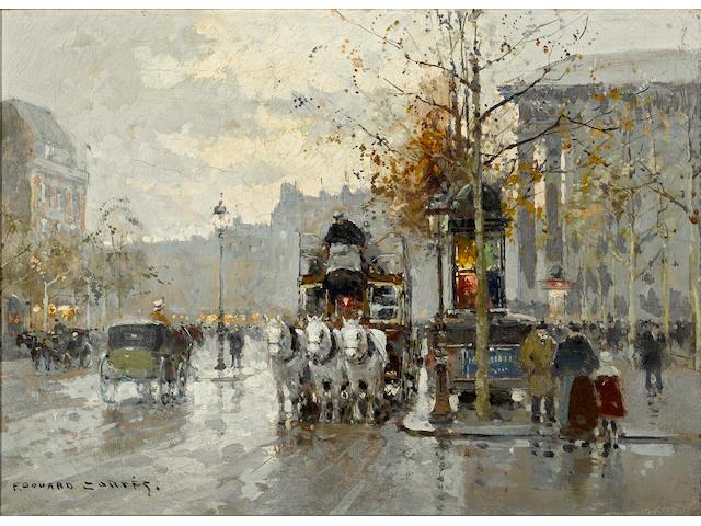 Edouard Léon Cortès (French, 1882-1969) Le boulevard de la Madeleine 13 x 18in (33 x 45.7cm)