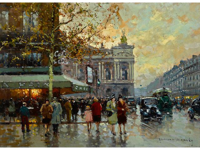 Edouard Léon Cortès (French, 1882-1969) Café de la Paix 13 x 18in (33 x 45.7cm)