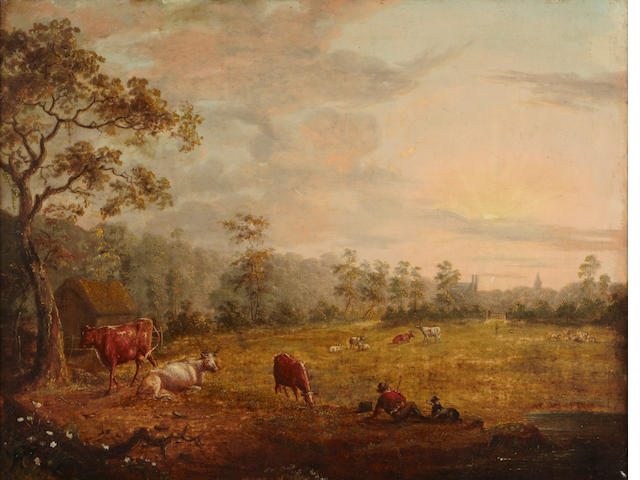 C. Towne Cattle grazing in a field with a figure resting in the foreground