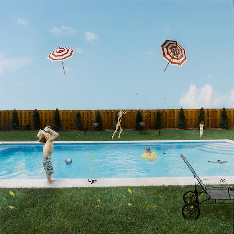Julie Blackmon (American, born 1966); Flying Umbrellas;