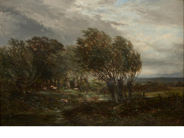 Attributed to Josefus Gerardus Hans (1826-1891), A Pastoral scene with cows along a stream, Oil on canvas, 15 x 22 inches