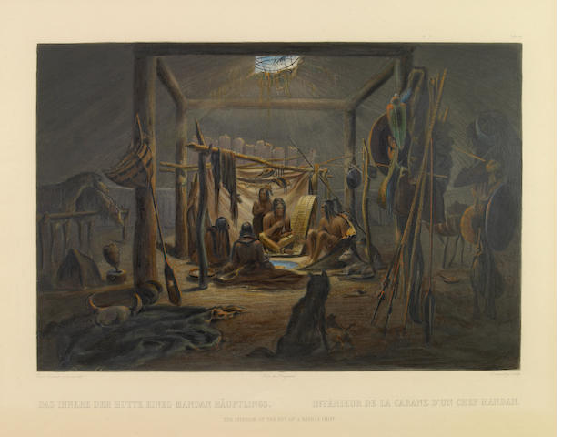 After Karl Bodmer (Swiss, 1809-1893); The Interior of the Hut of a Mandan Chief, Pl. 19, from Travels in the Interior of North America;