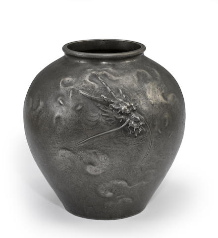 A patinated metal ovoid vase By Oshima Joun (1858-1940)