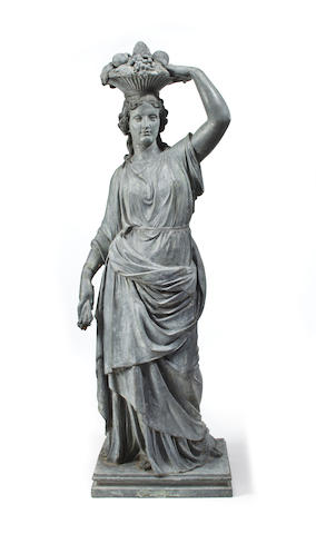 A Continental lead garden figure of Autumn or Pomona first quarter 19th century