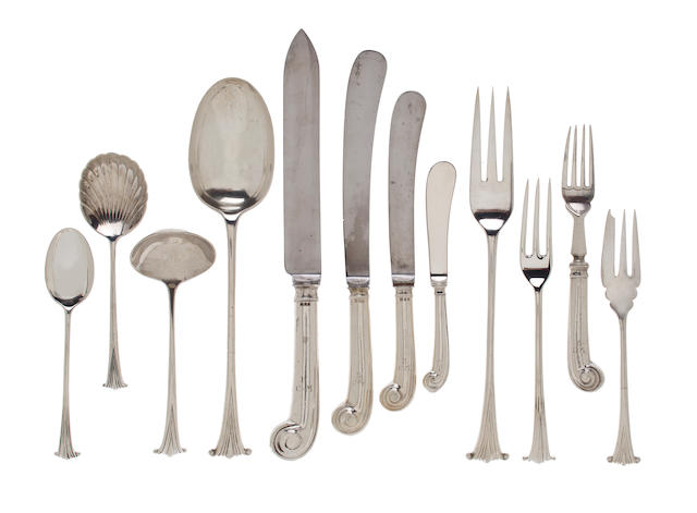 An English sterling silver harlequin flatware set 20th century