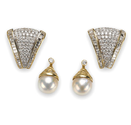Two pairs of diamond earrings with a pair of cultured pearl and diamond pendant earring jackets