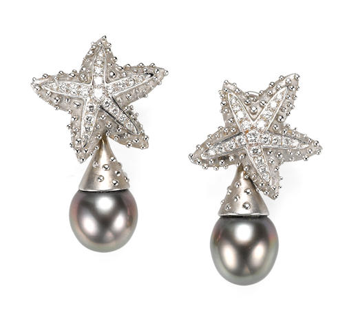 A pair of colored cultured pearl and diamond starfish day/night earrings