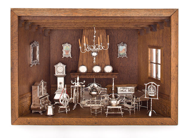 A collection of Dutch silver miniature living room furniture and decorative arts Schoonhovensche Zilverfabriek, retailed by Michael Feinberg Inc., New York, mid-20th century