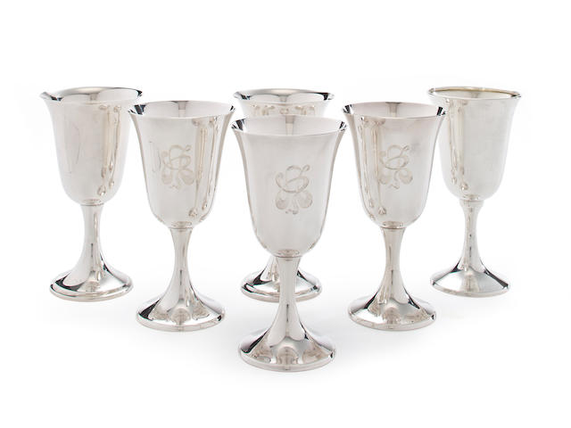 A set of twenty-one American sterling silver goblets<br>Gorham Mfg. Co., Providence, Rhode Island, mid-20th century