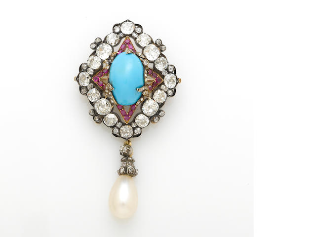A diamond, turquoise, ruby and cultured pearl pendant-brooch