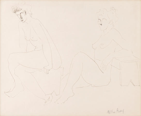 Milton Avery (American, 1893-1965) Two Nudes 13 3/4 x 16 3/4in