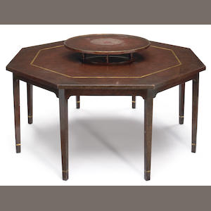 A William Haines octagonal dining table with Lazy Susan