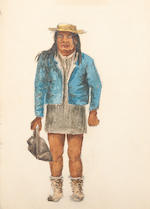 APACHE INDIANS—WATERCOLOR ALBUM. Album containing 33 sheets, 6 x 9 inches through 2½ x 5½ inches, with sketches and watercolors of views, scenes and portraits, 1886-1887,