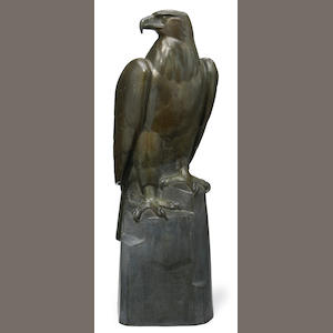 Hans Huggler-Wyss (Swiss 1877-1947) A patinated bronze sculpture of an eagle, 20th Century