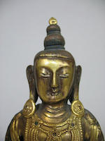 A gilt bronze figure of Buddhist deity Tibeto-Chinese, 20th century