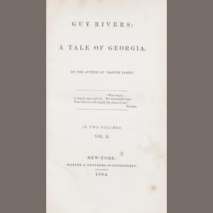 SIMMS, WILLIAM GILMORE. 1806-1870. Guy Rivers: A Tale of Georgia. New York: Harper & Brothers, 1834..