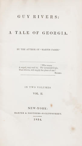 SIMMS, WILLIAM GILMORE. 1806-1870. Guy Rivers: A Tale of Georgia. New York: Harper & Brothers, 1834.<BR>