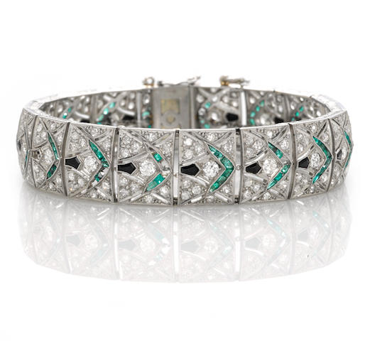 An art deco diamond, emerald and black onyx bracelet,