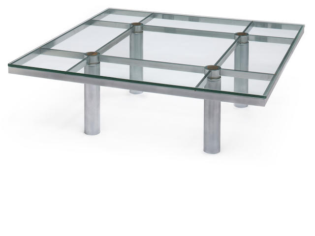 An Afra and Tobia Scarpa for Gavina chromed metal and glass coffee table  third quarter 20th century