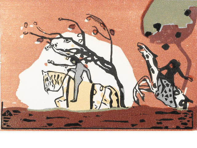Wassily Kandinsky (Russian, 1866-1944); Zwei Reiter vor Rot, from Klänge ;