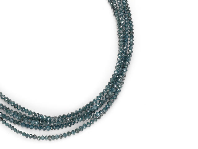 A colored diamond bead torsade necklace