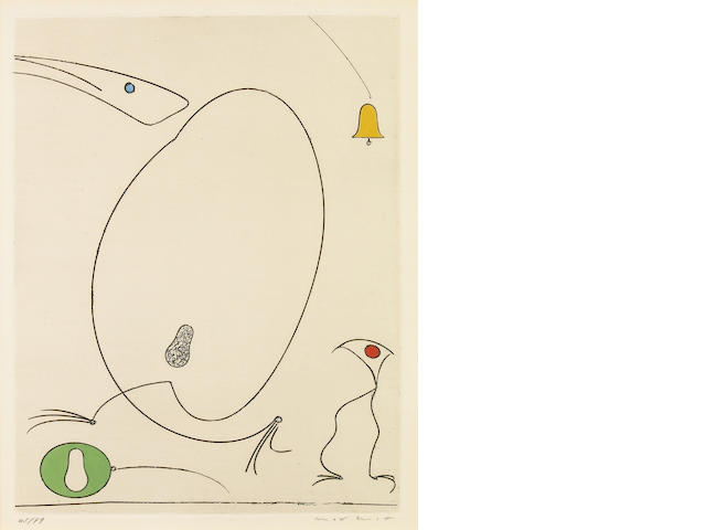 Max Ernst La Cloche 1967/1968 Etching in colors signed in pencil and numbered 45/99;