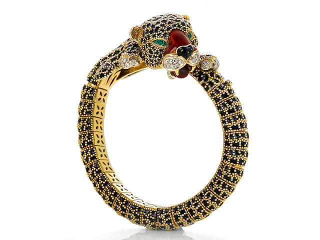 An enamel and diamond panther bangle bracelet, French
