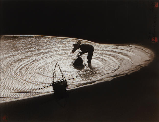 Don Hong-Oai, 'Spring on the River Li' Gullin, 1990; 'Morning Work' Giandong, China, 1980 (2).  first toned gelatin silver print, framed; second toned gelatin silver print, framed and glazed.  first 13 x 10 1/4in; second 11 x 14in
