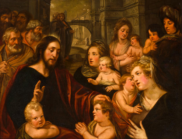 Studio of Artus Wolfaerts (Antwerp 1581-1641), circa 1600 Christ blessing the children 43 x 56in (109 x 142cm)