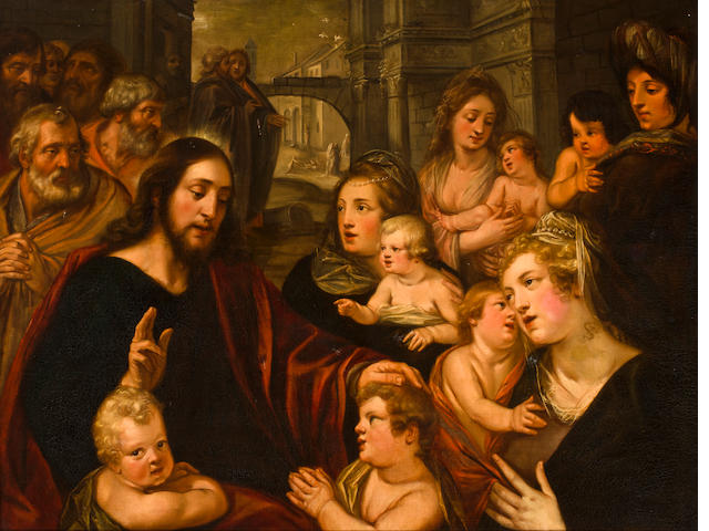 Antwerp School, circa 1600 Suffer the Little Children