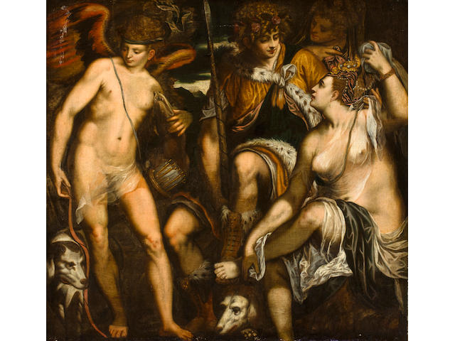 Alessandro Varotari (Padua 1588-1648 Venice) Venus and Adonis with Amor 54 x 57 1/2in (137 x 146cm)
