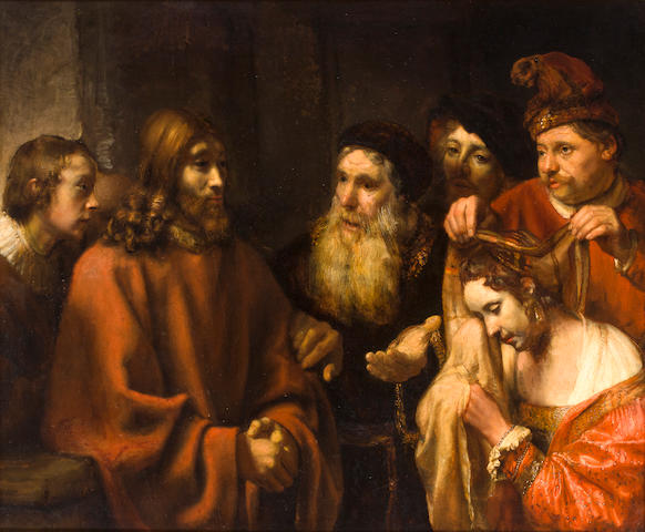 Manner of Rembrandt Harmensz. van Rijn Christ and the woman taken into adultery 45 x 54in (114 x 137cm)