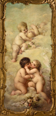 Josephine Calamatta (French, ?-1893) The four seasons 86 x 45in (218.5 x 114cm) each (4)