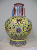 A Tibetan style yellow ground enameled porcelain vase, benbaping Jiaqing mark, Republic period