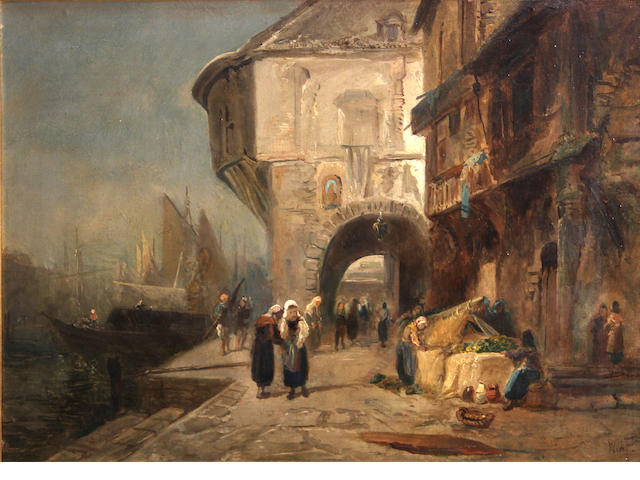English School, 19th Century A French port scene with figures on a quay 12 1/4 x 16 1/2in